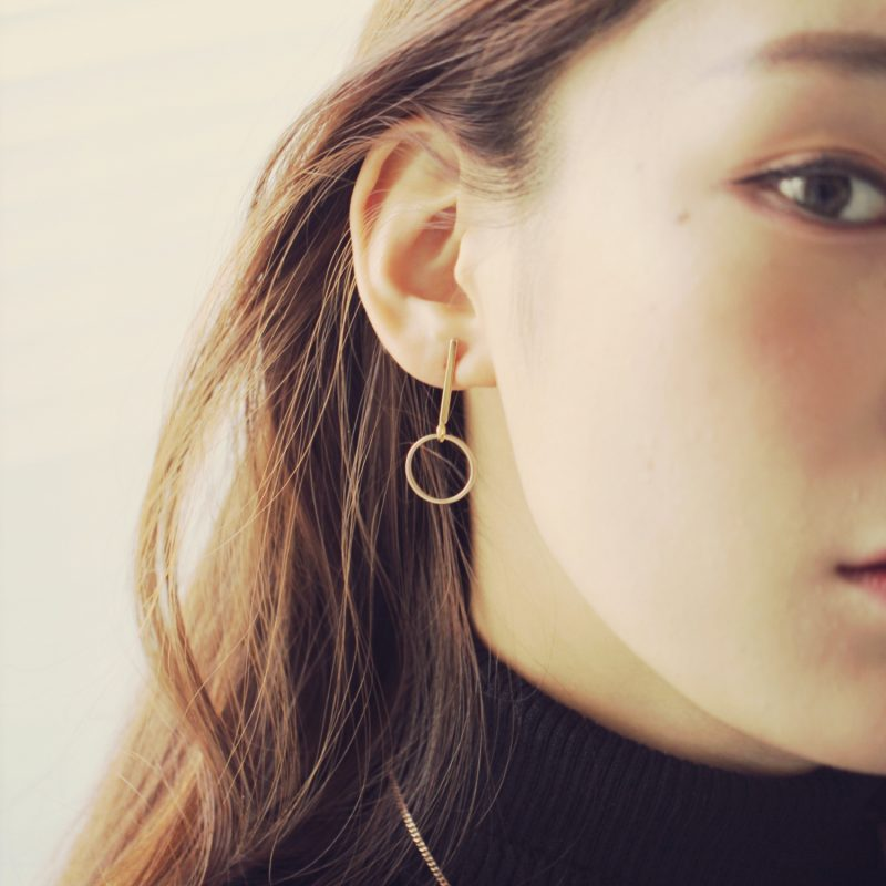 Gold Bar Circle Drop Earrings