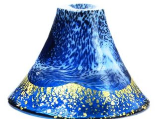Mount Fuji Design Prosperity Sake Wine Blown-glass Cup, Winter Blue With Gold Flakes 60ml