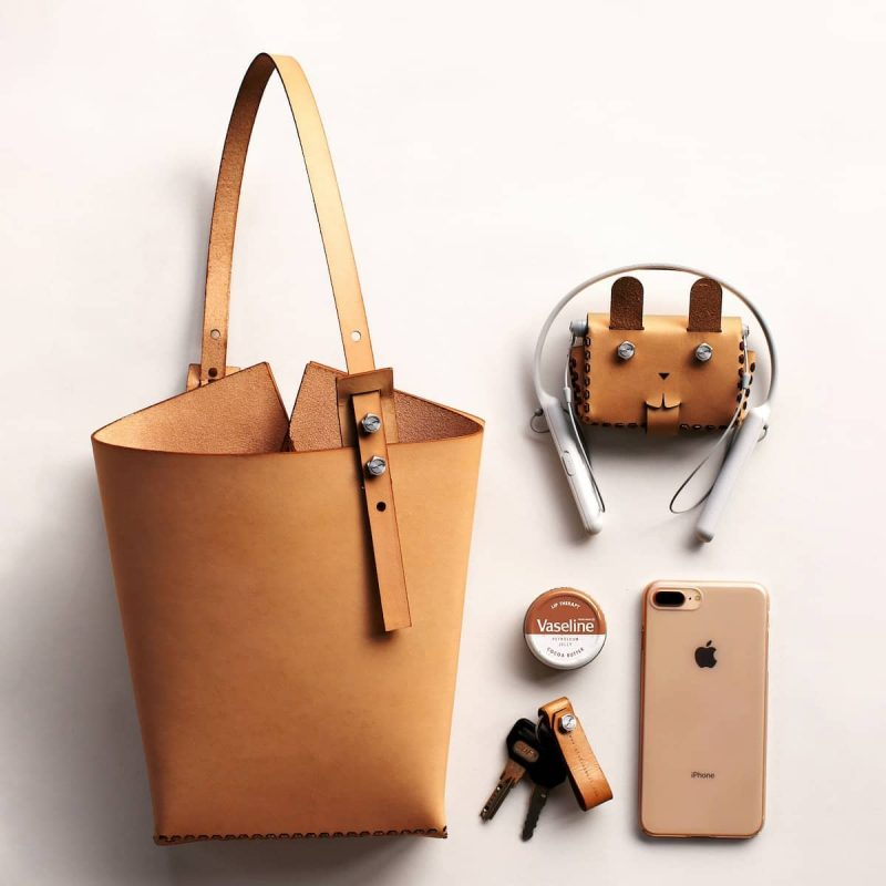 Twins Mini DIY Leather Small Tote Bag - Beige