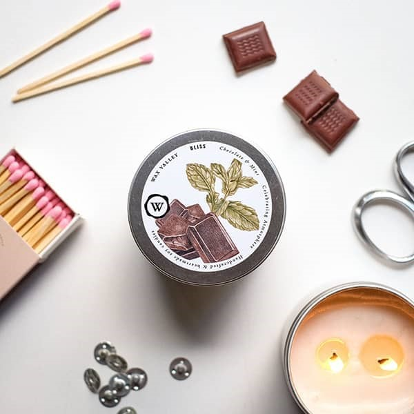 Soy Candle Bliss Blend Portable Tin - Chocolate & Peppermint