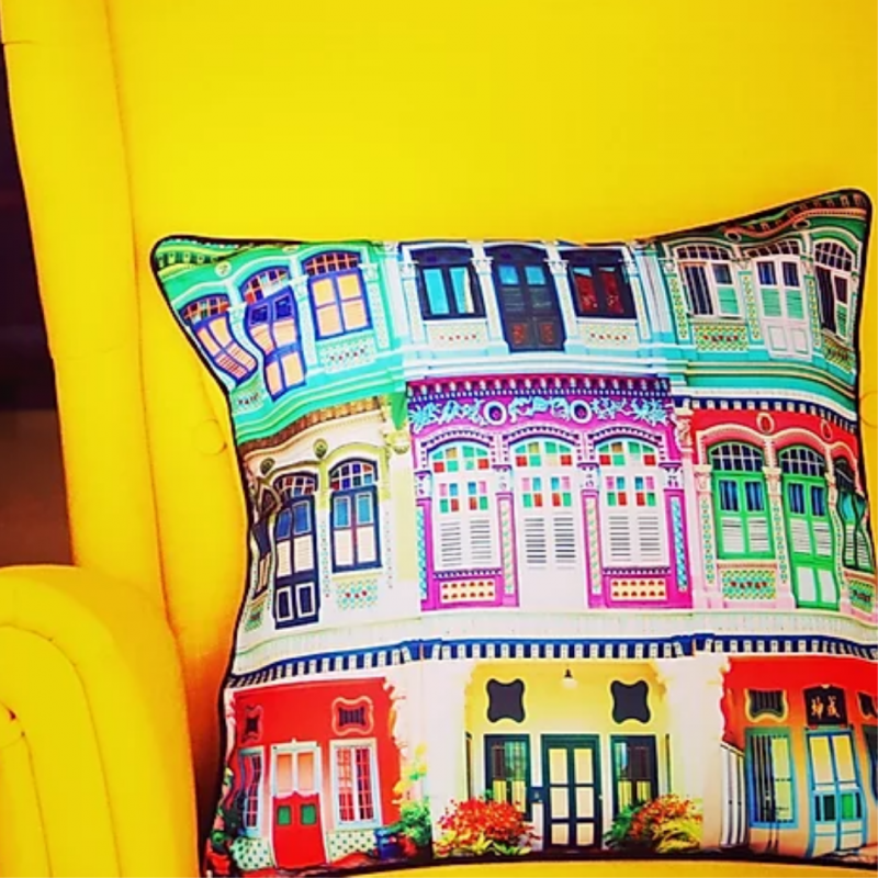 Colourful Rowhouses Cushion Cover