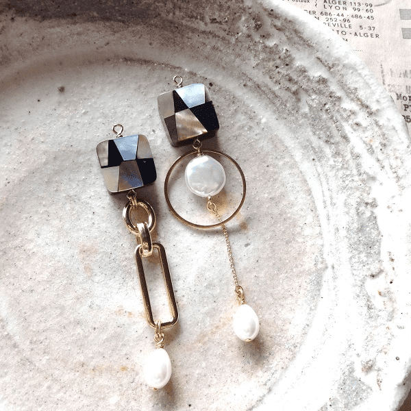 Lumiere irise - Vintage Mosaic shell & Pearl Earrings